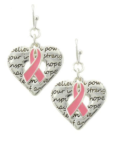 Arras Creations Breast Cancer Awareness Heart W/Message & Pink Ribbon Earring for Women / AZERBCA382-SPK