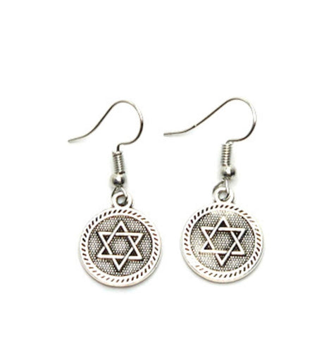Fashion Trendy but delicate ANTIQUE STAR OF DAVID EARRINGS For women. / AZAESD002-ASL