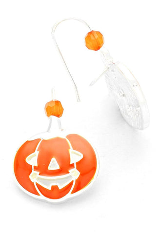 BEAD ACCENT ENAMEL PUMPKIN HALLOWEEN EARRINGS