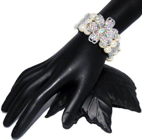 Trendy Imitation Pearl Flower Rhinestone Stretch Bracelet for Women / AZBRPS002-GPL