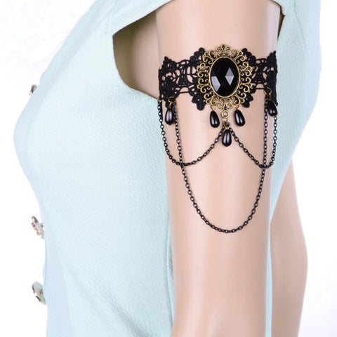 Fashion Vintage Gothic Handmade Black Lace Arm Band For Women
