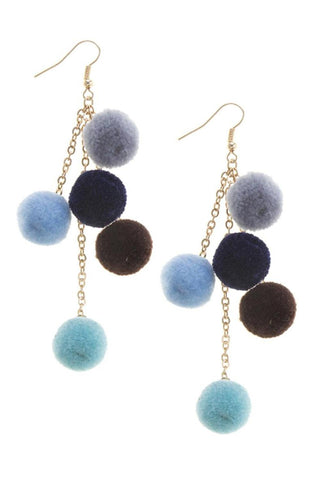 Fashion Trendy Pom Pom Dangle Earrings for Women / AZERPP631