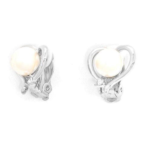Crystal Imitation Pearl Heart Shape Metal Clip on Earrings / AZERCO917-SPE