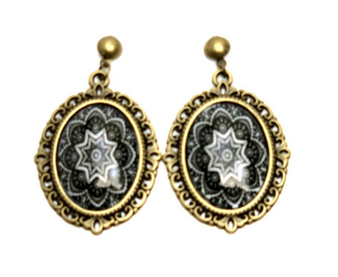 Trendy Fashion Cameo Hollow Lacework Cabochon Earrings for Women / AZEACB001-ABK