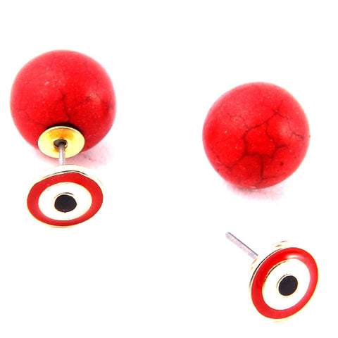 "Double-sided ""evil eye"" Drop Fashion Stud Earrings / AZEREY002-GRD"