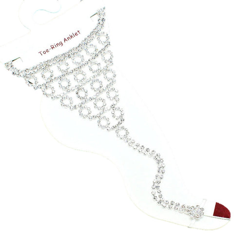 Fashion Crystal Flower Anklet with Toe Ring for Women