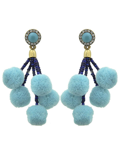 Fashion Trendy Pom Pom Ball Dangle Earrings for Women / AZERPP703-ABC
