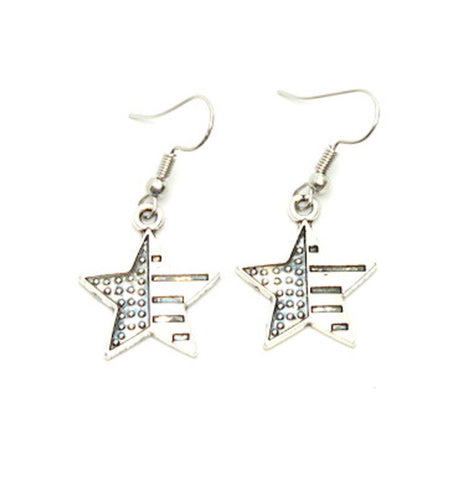 Patriotic Independence American Flag Star Earrings For Women / AZAEPT005-ASL