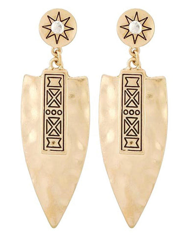 WESTERN THEME Arrowhead Dangle Post EARRINGS / AZERSW101-AGL