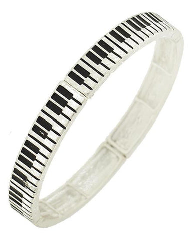 Trendy Fashion Music Keyboard Of Piano Design Stretch Bracelet For Women / AZBBMU899-SIL