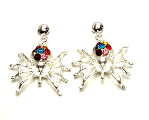 Fashion Halloween Spider Dangle Post Back Earrings For Women / AZAEHA401-SMU