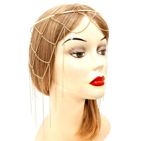 Fashion Trendy Belly Dancing, Tribal Metal Drape Metal Net Head Chain for Women