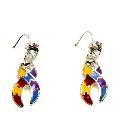 Autism Puzzle Ribbon Dangle Earrings Fashion Novelty Jewelry for Women / AZAEAU004-SMU