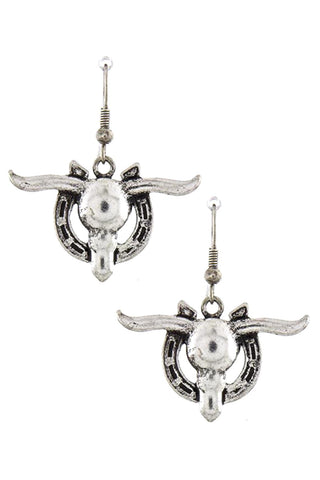 ANTIQUE WESTERN STYLE BULL ORNATE EARRINGS / AZERSW002-ASL