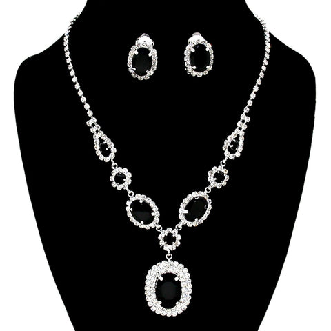 Arras Creations Trendy Fashion Rhinestone Monarch Necklace with Clip Earrings for Women / AZBLRH074-SBK
