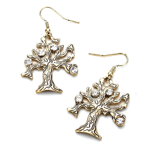 Rhinestone Accented Vintage TREE OF LIFE Metal Dangle Earrings / AZERFH951-AGL