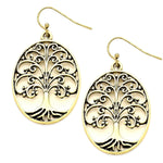 TREE OF LIFE CUT OUT OVAL DROP EARRINGS / AZERFH462-AGL