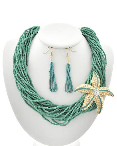 Sea Life Theme Multi Strand Starfish Necklace & Earring Set / AZNSSEA310-SMU