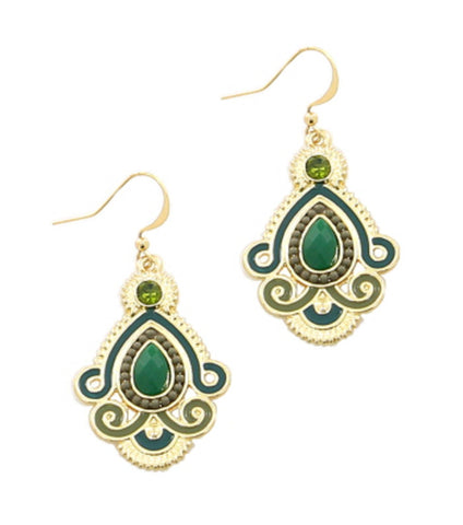 Fish Hook Drop Metal Theme Color Tear Drop in Green and Gold / AZERFH262-GGR