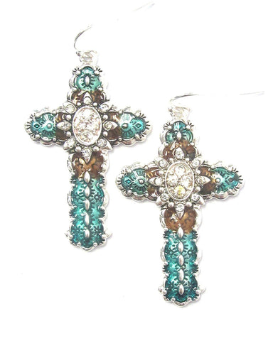 Trendy Fashion Crystal and Enamel Navajo Cross Earrings For Women / AZERCR021-ATC