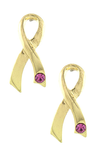 Arras Creations Trendy Fashion Crystal Pink Ribbon Earring - Breast Cancer Awareness for Women / AZERBCA004-GPK