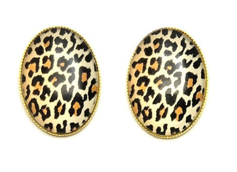 Trendy Fashion Cameo Cabochon Leopard Print Button Post Earrings for Women / AZEACPM01-GLE