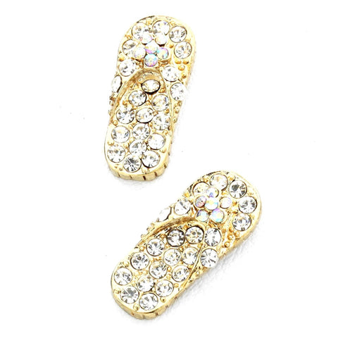 PAVE FLIP-FLOP STUD EARRINGS / AZERFF010-GCL