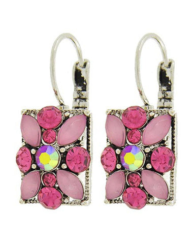 Fashion Trendy Antique Silver Pink Acrylic & Rhinestone Lever Back Earrings For Women