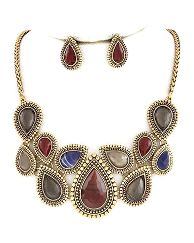 Arras Creations Burnished Gold Multi Color Necklace Set for Women / AZFJNS123-AMU