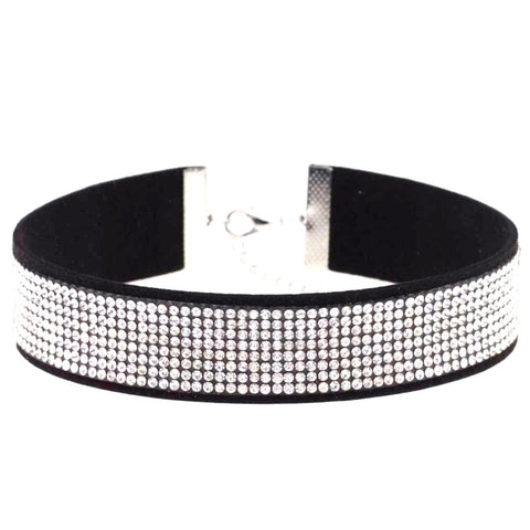 Fashion Classic Romantic Black Leather Crystal Choker Necklace for Women