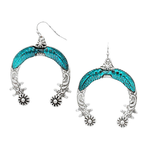 WESTERN THEME Tribal Metal Feather Horseshoe Hoop Earrings / AZERSW067-AST