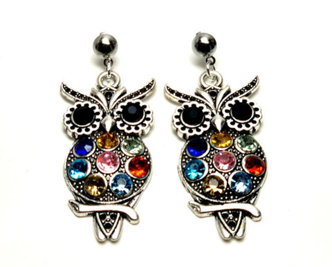 Halloween Trendy Fashion Multicolored Owl Dangle Earrings for Women / AZAEHA105-ASM