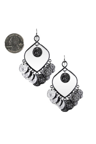 Fashion Trendy Tribal Belly Dance Coin Earrings For Women / AZBTBC103-SIL