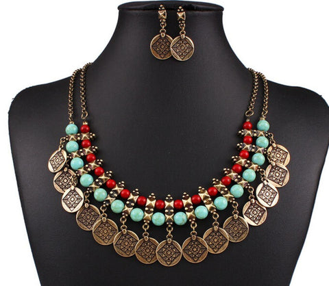 Fashion Belly Dance Vintage Bohemian Tassel Gypsy Ethnic Necklace Set for Women
