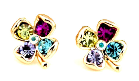 St.Patrick's Day Exquisite Colorful Zircon Four Leaf Clovers Stud Earrings / AZERCLA05-GMU