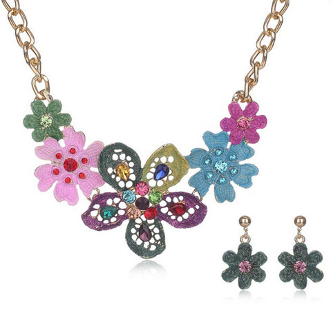 Arras Creations Fashion Trendy Crystal Enamel Flower Multicolored Jewelry Set Women / AZFJNSA03-GMU
