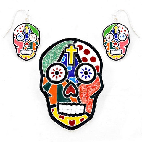 Halloween Fashion Enamel Day of The Dead Skull Pendant Set for Women or Men