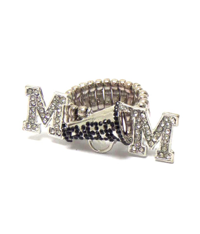 Arras Creations Sports MOM - Crystal Megaphone Cheer Mom Stretch Ring For Women / AZSJRI007-SIL-MOM