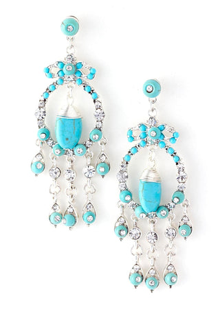 Turquoise Stone Chandelier Earrings / AZERFH276-STU