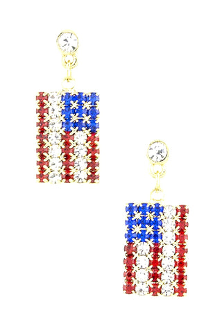Fashion Independence Day American Crystal Flag Dangle Earring Set For Women / AZERPT017-GRB-PAT