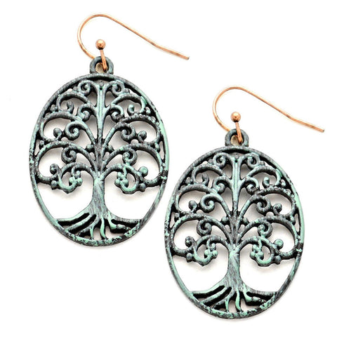 TREE OF LIFE CUT OUT OVAL DROP EARRINGS / AZERFH462-PAT