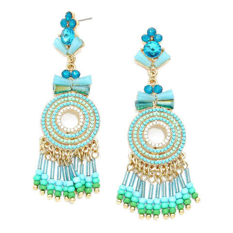 Beaded Fringe & Crystal Earrings