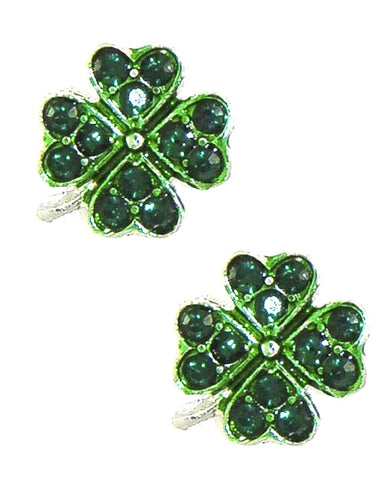 St.Patrick's Day Four Clover Button Post Earring Set / AZERCL855-SGR