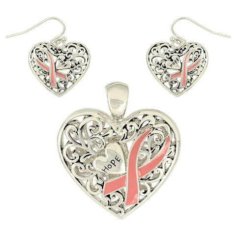 Arras Creations Valentine Heart Pink Heart Breast Cancer Awareness Pendant & Earring Set for Women/ AZFJFP378-STP