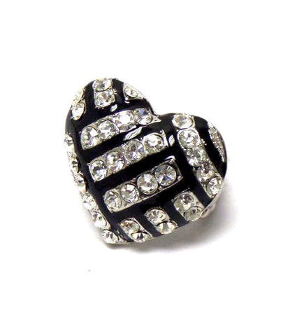 Sports Volleyball - Crystal Deco VolleyBall Heart Stretch Ring / AZSJRI010-SBK