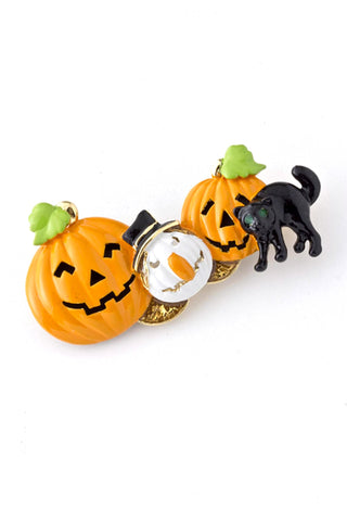 Arras Creations Halloween Creatures - Pumpkin, Cat, Ghost Brooch - White,Black,Orange