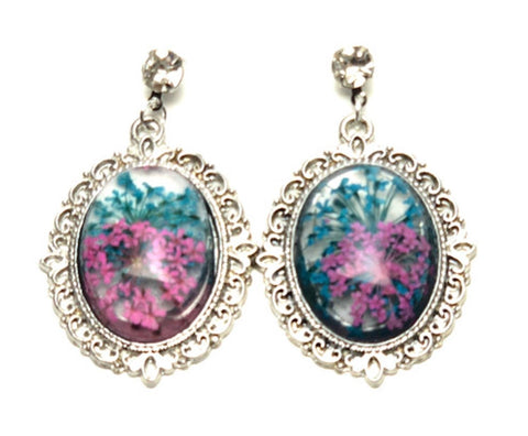 Trendy Fashion Cameo Hollow Lacework Cabochon Earrings for Women / AZEACS403-SBP