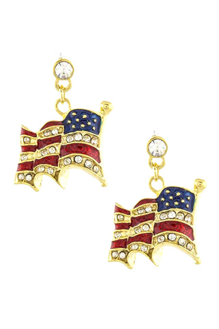 Fashion Trendy Patriotic Mini Curved American Flag Post Back Earrings For Women / AZERPT018-GRB-PAT