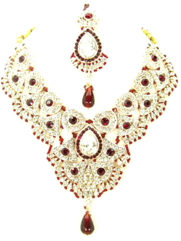 Fashion Trendy Bollywood Style Indian Imitation Necklace Set For Women / AZBWBR028-GRD