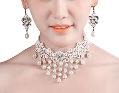 Fashion Trendy Vintage White Victorian Gothic Lace Choker Necklace Set for Women